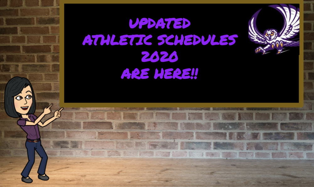 UPDATED ATHLETIC SCHEDULES 2020