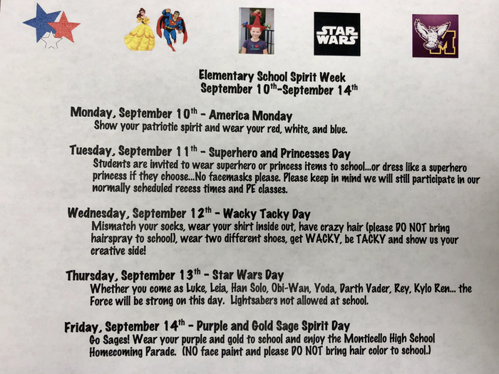 Spirit Days September 10-14 #GoSages